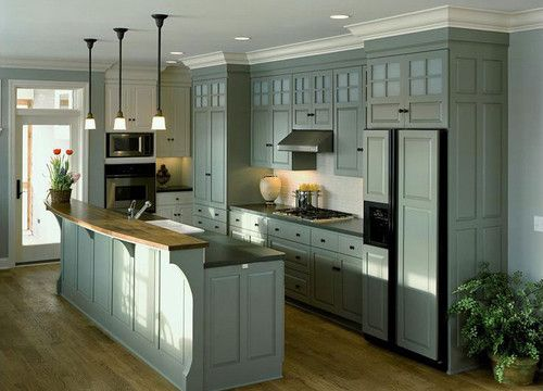 Green color for carriage house interior kitchen ideas for Ceiling height kitchen cabinets