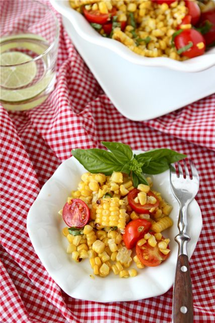 Grilled Corn Salad Recipe with Cherry Tomatoes & Basil: Corn Salad Recipes, Tomatoes Recipes