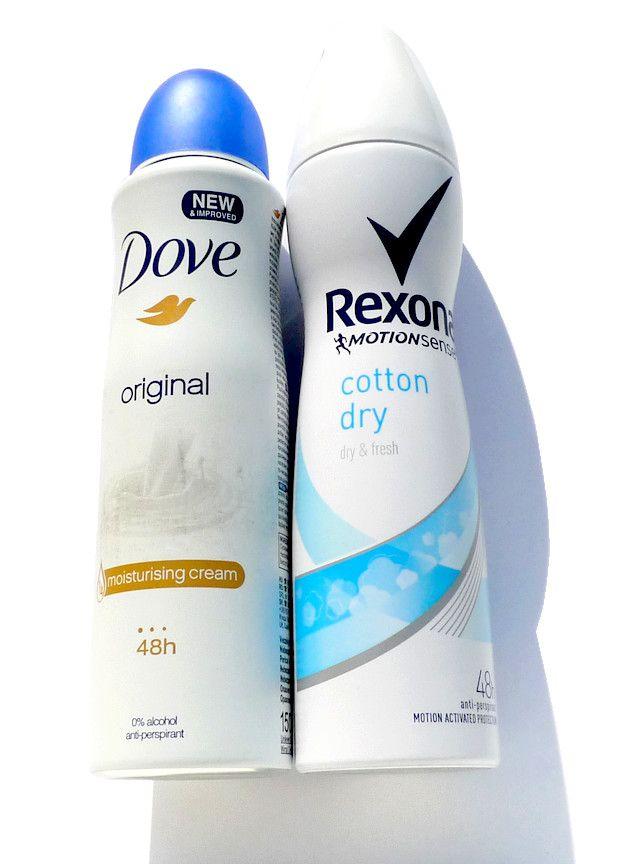 Antiperspiranty Dove Original, Rexona Motion Sense Cotton Dry