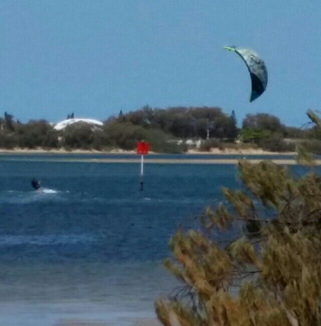 Kite sailing on the Broadwater.