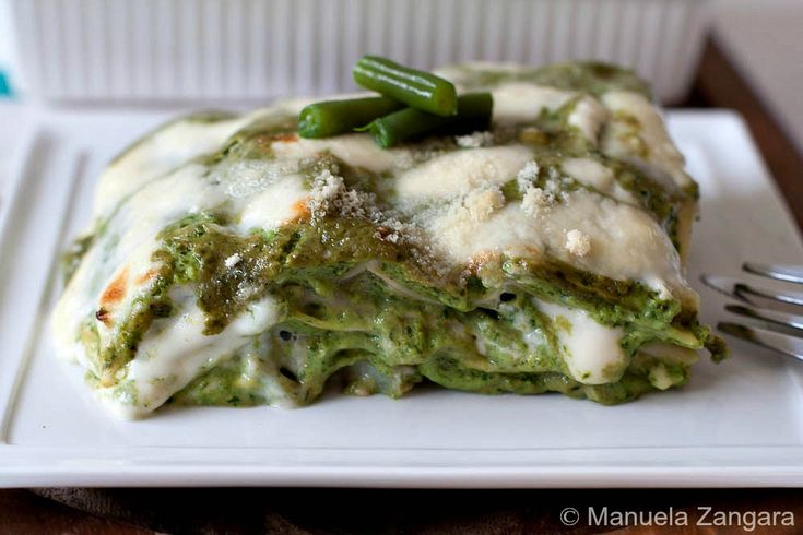Pesto Lasagne - a vegetarian version of a traditional Italian dish made with pesto, potatoes and green beans.