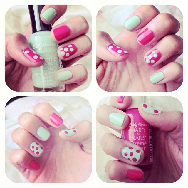 Fuchsia power and Mint sorbet nails
