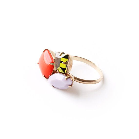 Candy Multi Gold & Glass Bauble Ring / 14k gold-fill band, vintage brass-set crystals / colorful statement jewelry on Etsy, $110.00