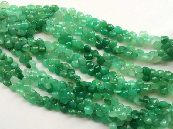 Chrysoprase Beads Shaded Green Chrysoprase by gemsforjewels