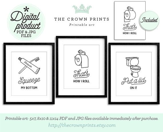 Funny Wall Art, Bathroom Art, PRINTABLE Art, Set Of 3
