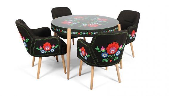 Masa și scaunele Pannonia, vin în completarea familiei de produse Pannonia cu broderie viu colorată