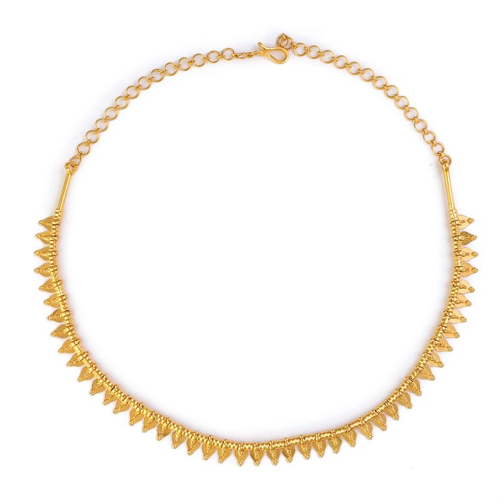 SKU:MNK6 Product Weight: 22K, 24gms Gold Description: Simplistic and feminine, the Thali Kootam Necklace presents a 22K gold strand of alternating tube and petal shaped beads. Smooth with rounded edges, this traditional gold necklace lays comfortably against the skin can is easily worn all day.