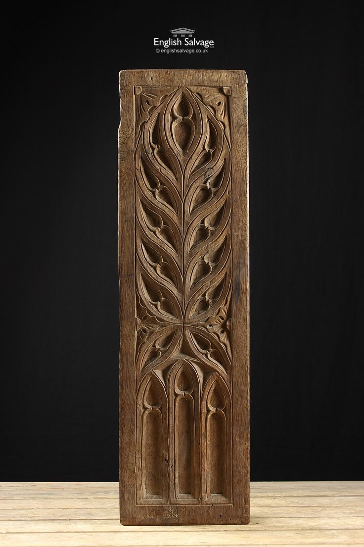 19th Century Oak Carved Gothic Panel Деревянный дизайн
