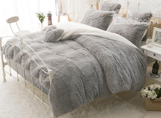 Solid Gray And White Color Blocking Fluffy 4 Piece Bedding Sets