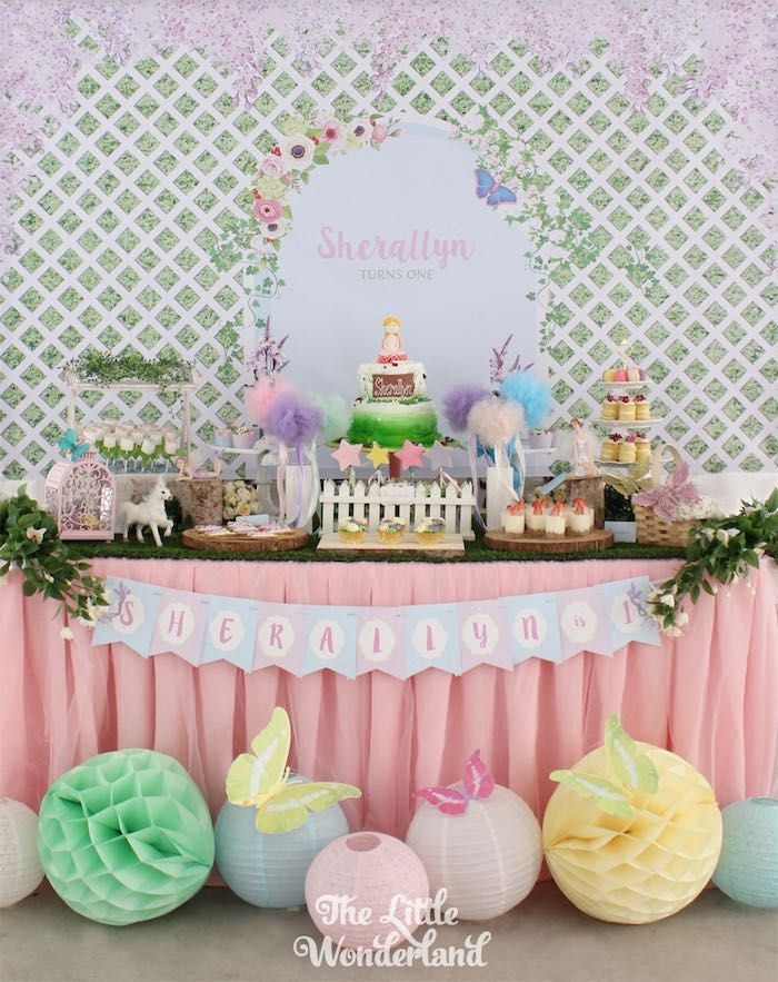 Dessert Table from a Magical Secret Garden Birthday Party