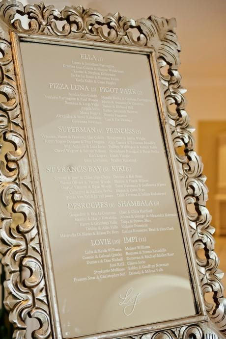 Seating Plan on a mirror - Canvas Stationery Boutique