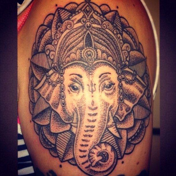 Buddhist Elephant Tattoo Meaning: Dotwork Ganesh #Ganesh #tattooing #tattooist #tattoo