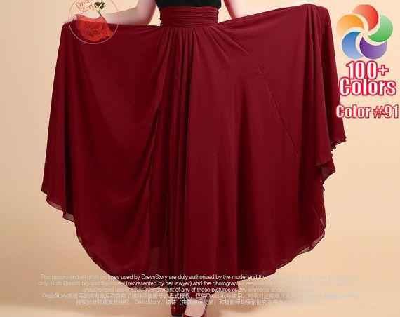 Orange Maxi Skirt Tomato Chiffon Maxi Skirt with por DressStory