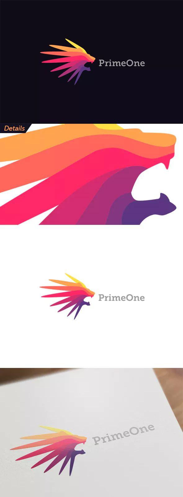 Colorful Lion Head Logo Template AI, EPS