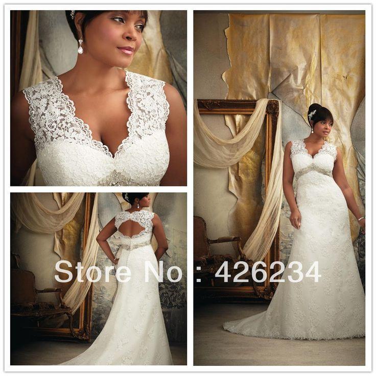 Free shipping Elegant Mermaid V-neckline Chapel Applique Lace White Net with Satin Wedding Dresses Plus Size Best Selling