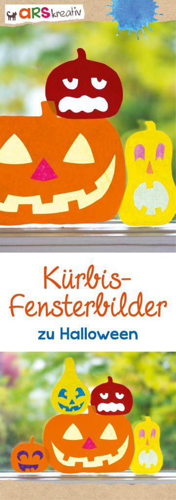 Kürbis-Fensterbilder aus Bunt- und Transparentpapier #Basteln #Halloween #arskreativ (Halloween Manualidades)