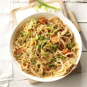 Spicy Peanut Chicken & Noodles Recipe -This simple recipe tastes like it took hours to make. Everybody says it has the perfect levels of heat and spice. —Sharon Collison, Newark, Delaware