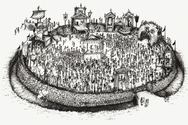 A remarkable manuscript shows the classic circular Shakespearean theatre had deep and unsuspected medieval roots far from Stratford or London