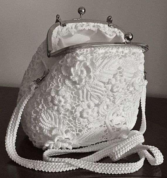 Wedding Clutch. Irish Crochet. Vintage Purse. Shoulder ...