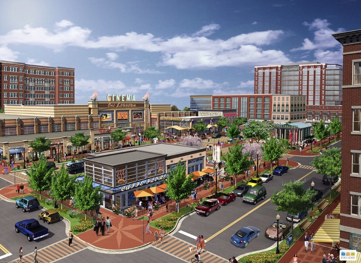 rendering of downtown one loudoun design urban
