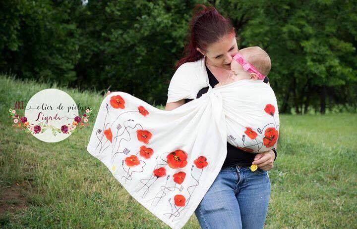 Pictura pe sisteme de purtat sanatoase pentru mame si bebelusi. Mamica poate veni cu propriul sistem de purtare si il personalizam impreuna
