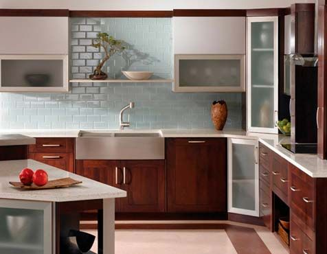 Add color to your kitchen with backsplash! Black Millwork Co.'s talented and friendly kitchen designer will walk you through choosing the right back splash for your kitchen! www.blackmillwork.com