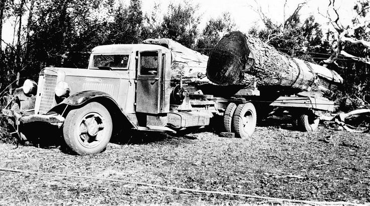 Red gum logs near Chetwynd, being trucked on an International C Series to Rowe's Sawmill at Edenhope, 1937.