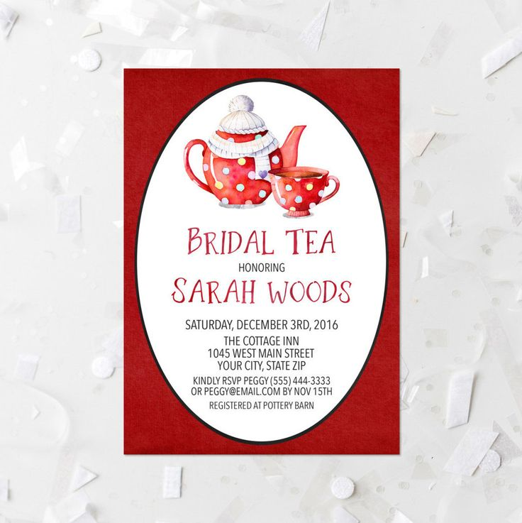 Bridal Tea Invitation Printable Teapot Bridal Shower Invite Winter Bridal Tea Invite Watercolor Teapot Christmas Bridal Shower Invitation by MossAndTwigPrints on Etsy