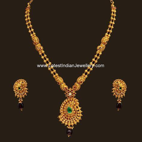Simple Paisley Pendant Antique Haram | Latest Indian Jewellery Designs