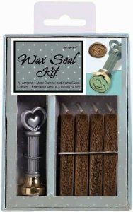 "Size: One Size|Color: As Shown                                                                            Wax Seal Kit. Wax seals add a unique and charming style to your favorite stationary. Use to enhance invitations, announcements and any card for any occasion. This package contains one metal stamper measuring 2-3/4"" high with a 3-4"" diameter brass stamping head of a 3d heart and four 2-1/2"" x 3/8"" x 3/8in wax sticks: each produces approximately fifteen seals."