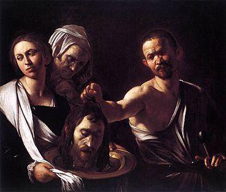 Salomé met het hoofd van Johannes de Doper, schilderij van Caravaggio, 1610. Salomé wendt haar blik af - zij heeft het zelf niet zo gewild.