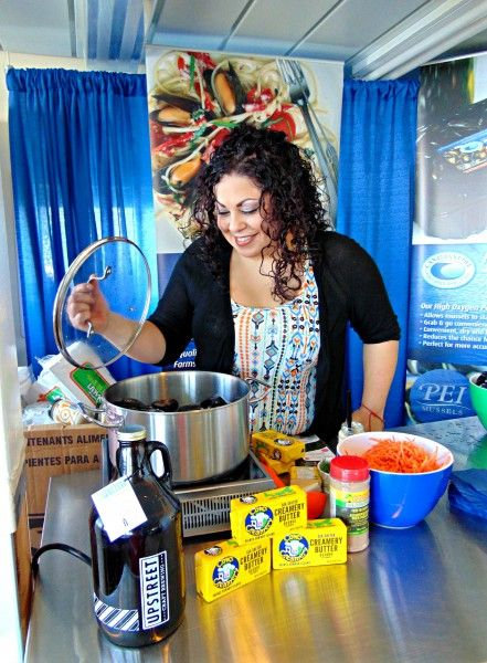 Chef Ilona Daniel serves up mussels onboard the Holiday Island