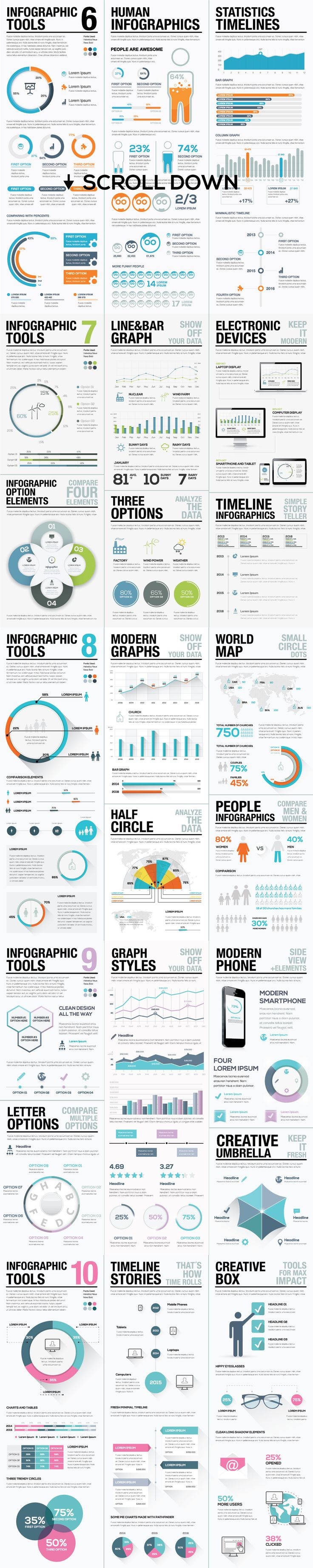45%OFF Infographic Elements Bundle 2 by Infographic Template Shop on Creative Market