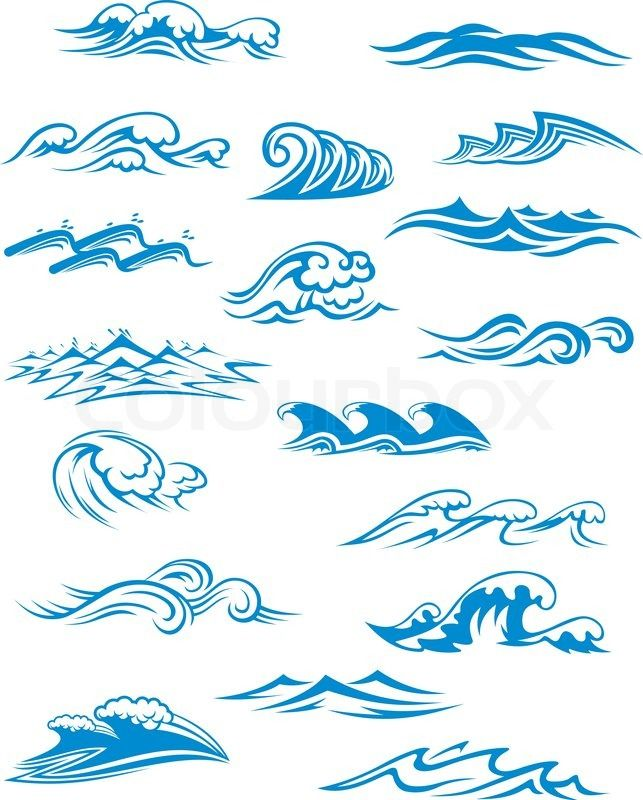 Stock vector of 'Ocean or sea waves, surf and splashes set curling and breaking in a pretty turquoise blue for marine and nautical themed concepts, vector illustration on white'