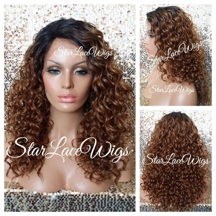 100% Human Hair Blend Curly Dark Root Lace Front Wig Color #2  #27 Mix Heat Safe #Unbranded #LaceFrontWig