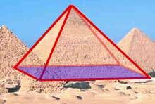Pyramid Outlined. Shows in red the outline of the dimensions and edges