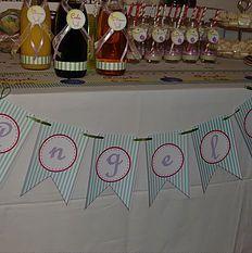 Banderole personnalisée. Thème « Angelo » http://mariereve7.wix.com/mariereve MarieRêve crée et réalise vos décorations personnalisées, votre Buffet Douceur ou Bar à bonbons, sweet table et candy bar, table des enfants pour fête, anniversaire, mariage, baptême, baby-shower.