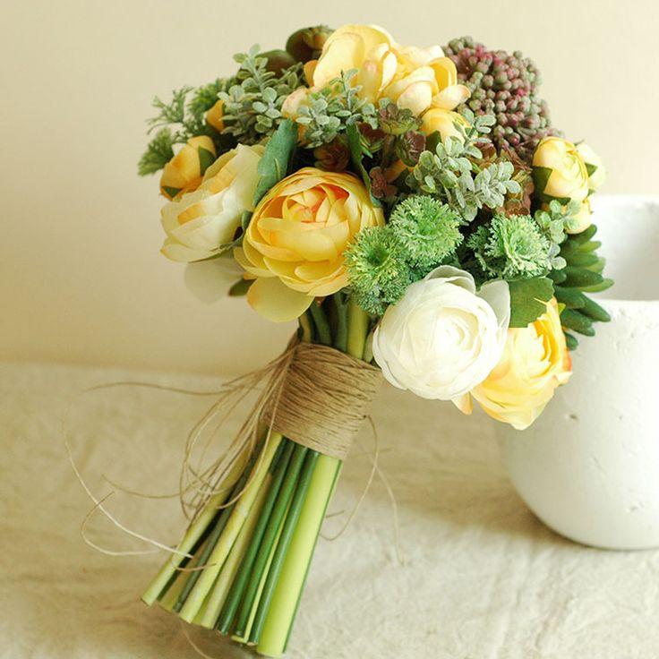 Yeni Stil El Yapımı Gelin Düğün Buketi En Kaliteli Yapay Çiçek Simülasyon Etli Bitkiler Düğün Buketleri