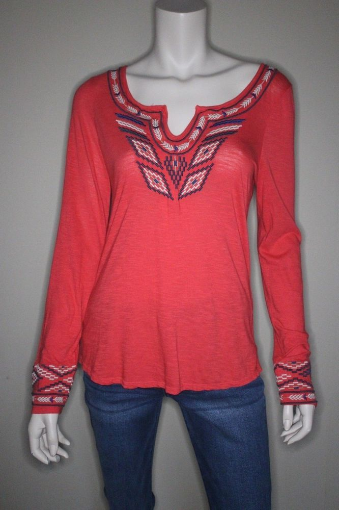 Lucky Brand Long Sleeve Embroidered Top Size Small Boho Chic Festival Shirt #LuckyBrand #Embroidered