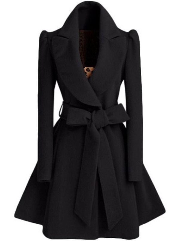 Black Shawl Collar Frock Coat With Belt. -SheIn