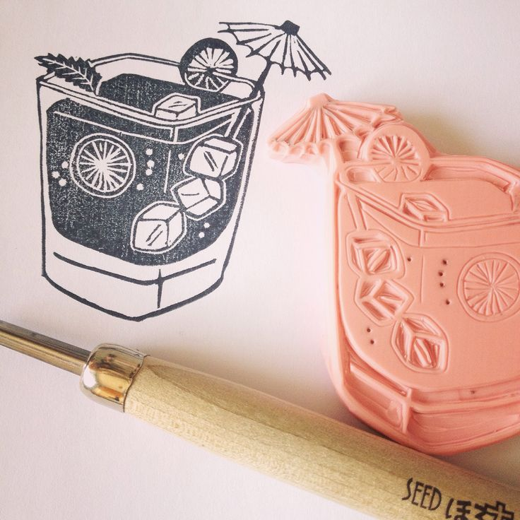 Mojito cocktail stamp handcarved by Natàlia Trias