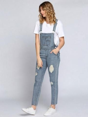 Autumn Jumpsuit Women Romper Jeans Jumpsuits Ripped Bleach Wash