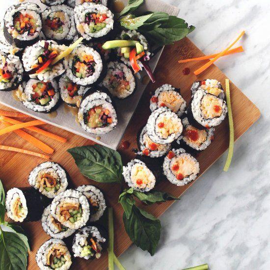 Three Vegan Sushi Fillings: spicy cauliflower, rainbow veggie, and mushroom teriyaki.