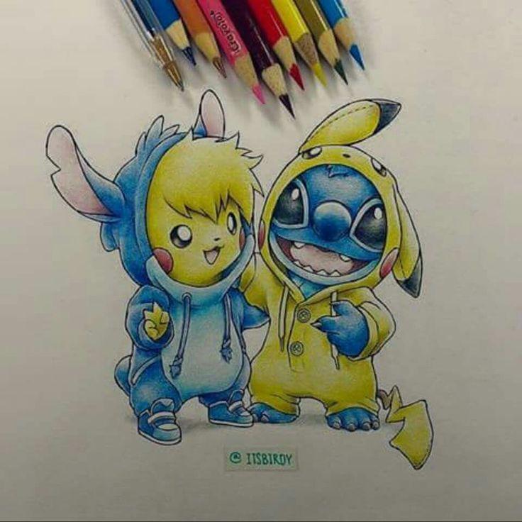 Pikachu Meets Stitch DisneyPixar Pinterest