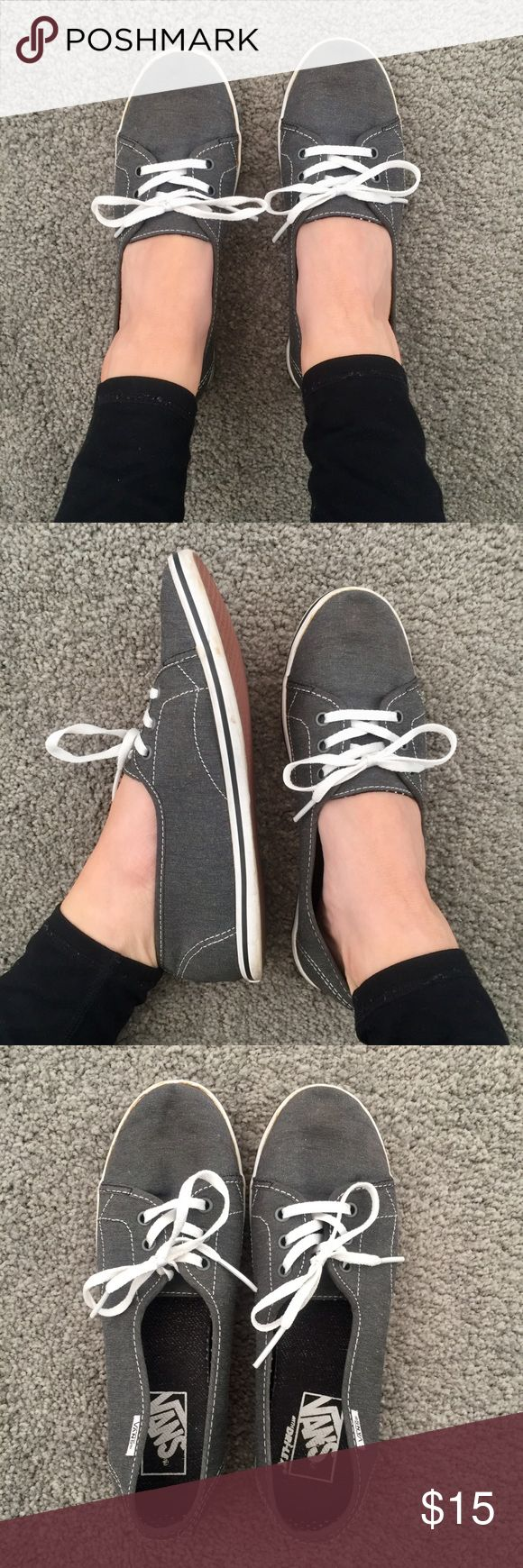 Vans boat shoes Adorable slip-on Vans boat style shoes, similar to the Palisades style. Excellent used condition. Slight discoloration on the sole from wear (shown). Vans Shoes