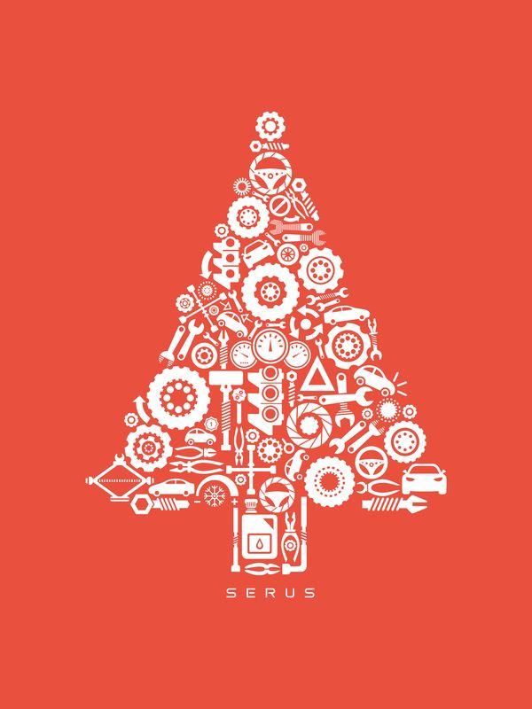 serus christmas card by Alexandra Rusu, via Behance