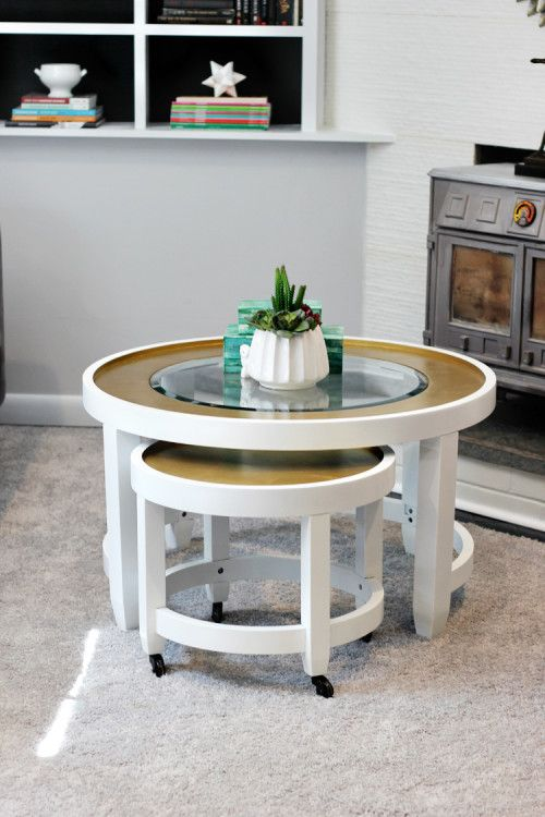 Nesting coffee tables on casters for small space