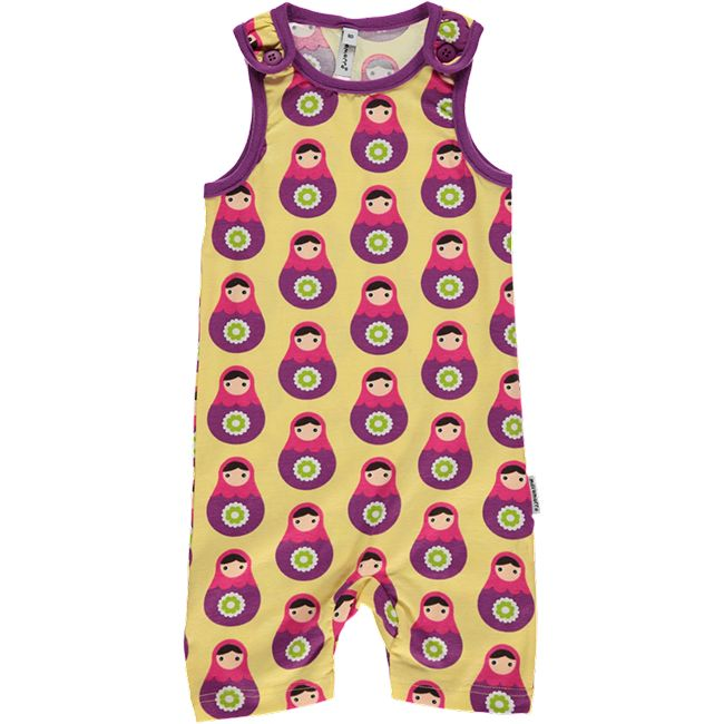 Babushka playsuit for babies and toddlers. Made by Swedish brand Maxomorra.