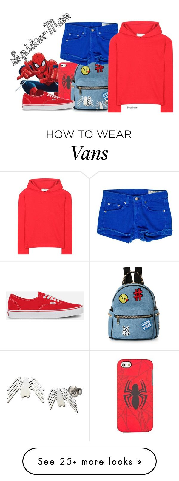 """Spider-Man (Spider-Man: Homecoming)"" by claucrasoda on Polyvore featuring Ultimate, IMoshion, rag & bone, Marvel, Balenciaga and Vans"