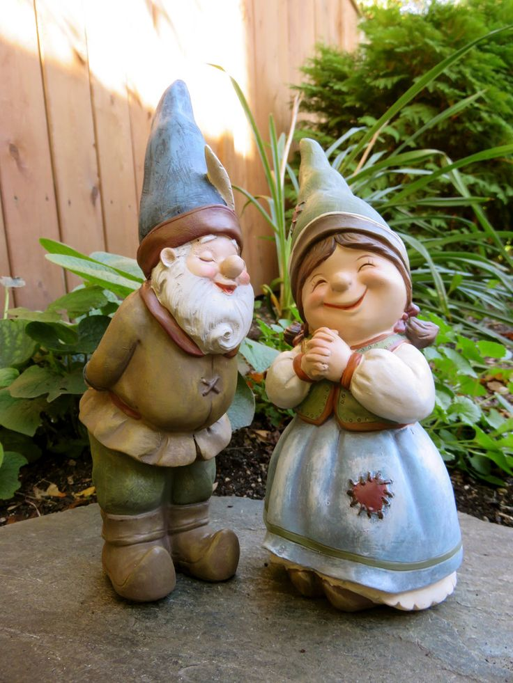 Gnome Garden: 2 Garden Gnomes Elf Statue Yard Ornaments Figurines Boy